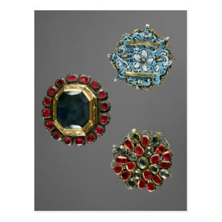Selection of costume brooches postcard