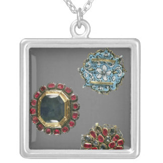 Selection of costume brooches square pendant necklace