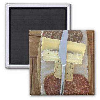 Selection of gourmet cheeses and cut meats 2 inch square magnet