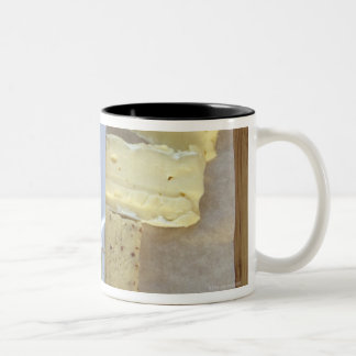 Selection of gourmet cheeses and cut meats Two-Tone coffee mug