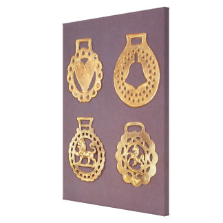 Selection of horse brasses canvas print