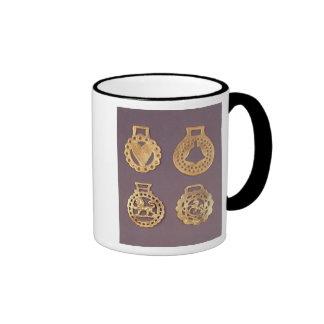 Selection of horse brasses ringer mug