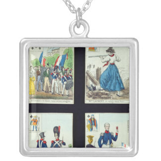 Selection of playing cards relating to silver plated necklace
