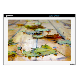 """Selective focus on autumn maple leaves with shallo 17"""" laptop skins"""
