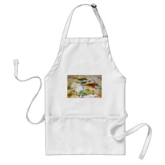 Selective focus on autumn maple leaves with shallo adult apron
