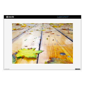 Selective focus on fallen autumn maple leaves clos decals for laptops