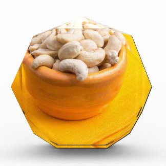 Selective focus on raw cashew nuts closeup award