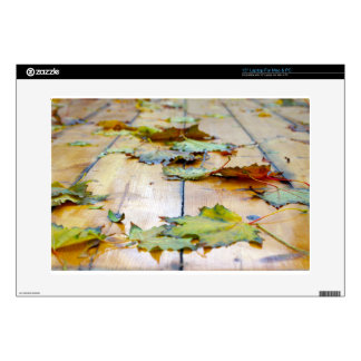 Selective focus on the autumn fallen maple leaves laptop decals