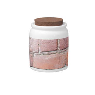Selective focus on the red brick wall candy jar