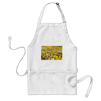 Selective focus on the yellow maple leaves on the adult apron
