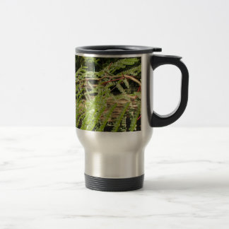 Selective focus on the young acacia branch with le travel mug