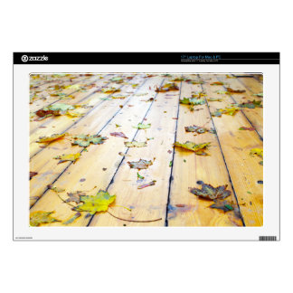 Selective focus on wet fallen autumn maple leaves decals for laptops