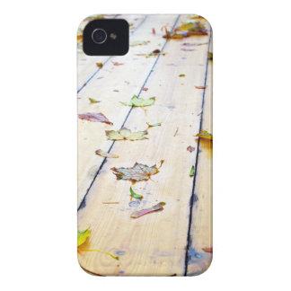 Selective focus on wet fallen autumn maple leaves iPhone 4 case