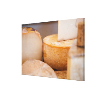 Selective focus photograph of cheeses in cheese canvas print