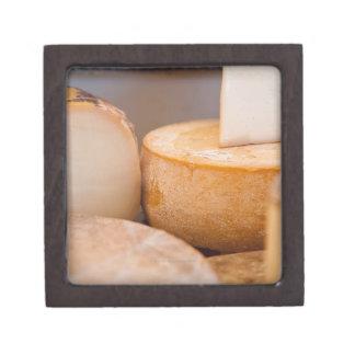 Selective focus photograph of cheeses in cheese premium keepsake box