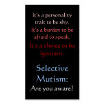 Selective Mutism Awareness Double-Sided Standard Business Cards (Pack Of 100)
