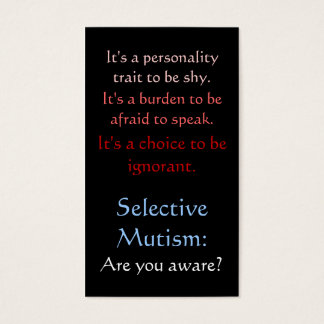 Selective Mutism Awareness Business Card
