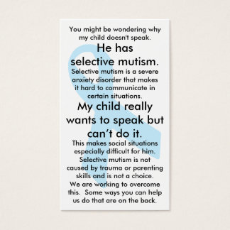 Selective Mutism Do's and Don'ts (male) Business Card