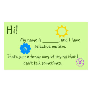 Selective Mutism for Kids flower theme Business Card