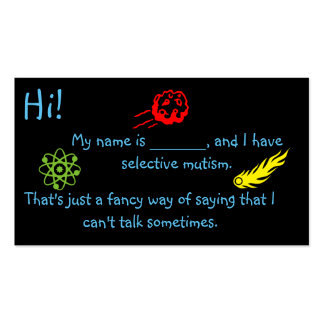 Selective Mutism for Kids space theme Business Card