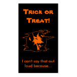 Selective Mutism Trick-or-Treat Double-Sided Standard Business Cards (Pack Of 100)