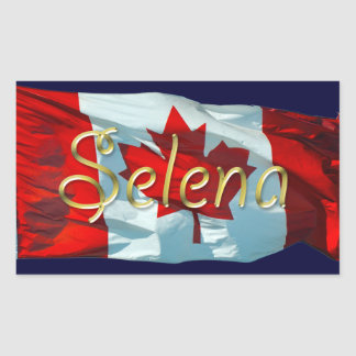 SELENA Name & Canadian Flag Personalised Stickers