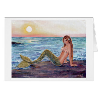 Selene mermaid in the sunrise greeting card