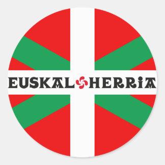 "Self-adhesive Flag Basque ""Ikkurina "" Classic Round Sticker"
