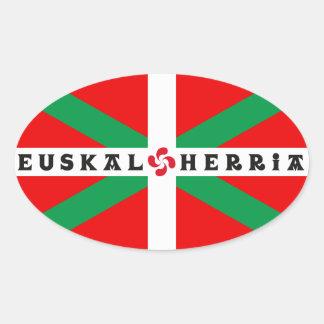 "Self-adhesive Flag Basque ""ikkurina "" Oval Sticker"