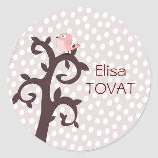 self-adhesive pink bird on tree arabesque classic round sticker