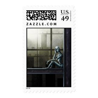 self aware robot scifi postage