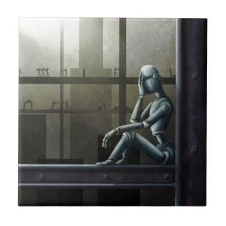 self aware robot scifi small square tile