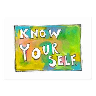Self Awareness knowledge wisdom fun colorful art Large Business Card