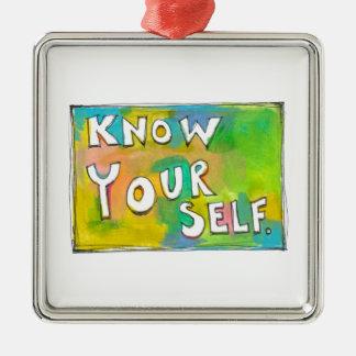 Self Awareness knowledge wisdom fun colorful art Metal Ornament
