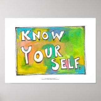 Self Awareness knowledge wisdom fun colorful art Poster