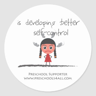 self-contorol-girl classic round sticker
