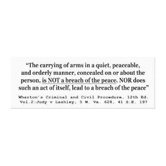 Self Defense Judy v Lashley 5 W Va 628 41 SE 197 Canvas Print
