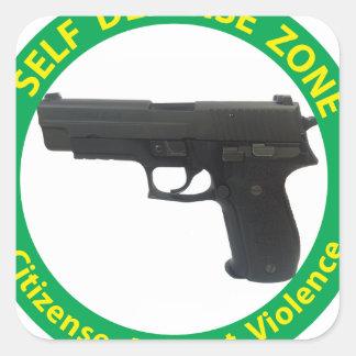 Self Defense Zone-Violence Square Sticker