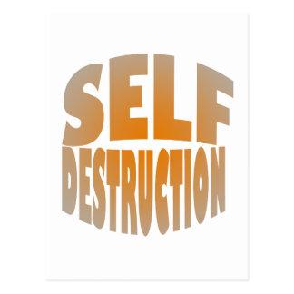 self destruction postcard
