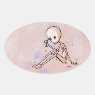 Self-Destructive Oval Sticker