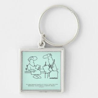 Self-Diagnosis Silver-Colored Square Keychain