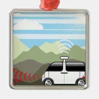 Self-driving car. Driverless car. Metal Ornament