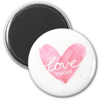 Self Esteem Love Yourself Typography Heart Magnet