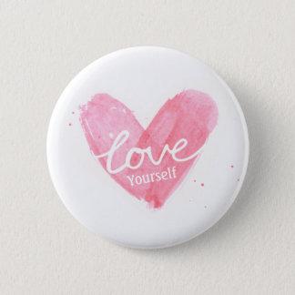 Self Esteem Love Yourself Typography Heart Pinback Button