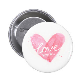 Self Esteem Love Yourself Typography Heart Pinback Button