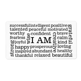 Self Image Positive Affirmations I AM statements Label