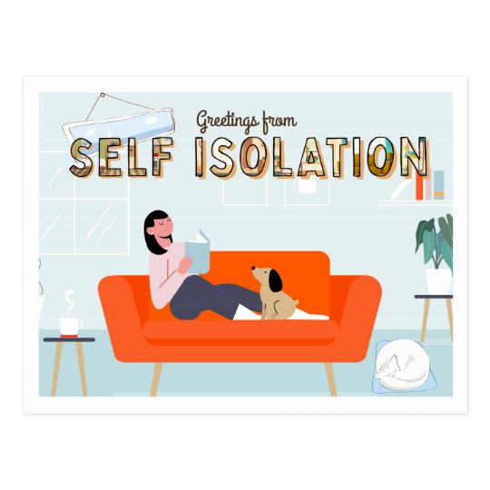 Self Isolation   Cute Stay at Home Greetings Postcard