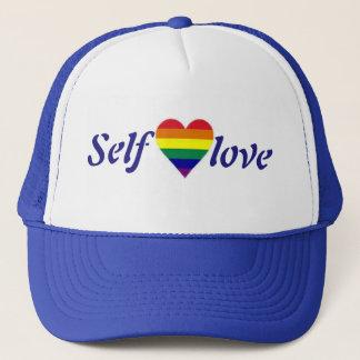 Self love rainbow heart hat
