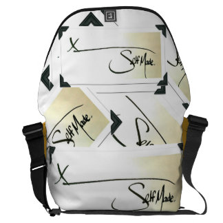 Self Made® Multi-check YELLOW on BLACK Trim Courier Bags