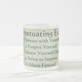 Self Perpetuating Evolution Morning Thoughts Frosted Glass Coffee Mug